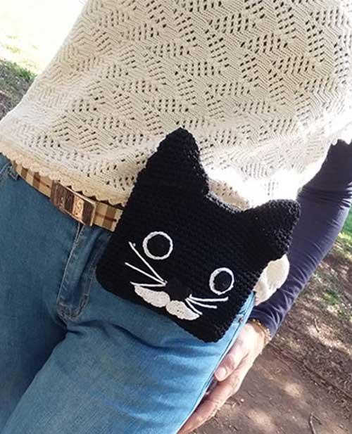 borsa tracolla pochette marsupio a forma di gatto
